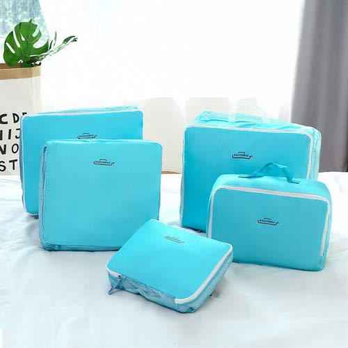 Vokmon 5Pcs Packing Bags Cubes Travel Essential Compression Pouches Luggage Storage Clothes Shoes Toiletry Organizer