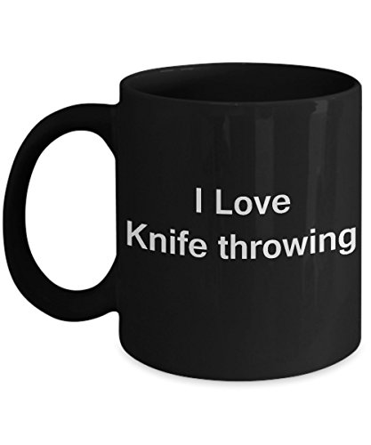 I Love Knife Throwing - Valentines Gifts - Porcelain Black Funny Coffee Mug, Best Office Tea Mug & Coffee Cup Gifts 11 oz
