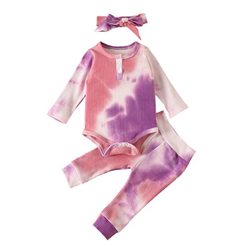 OPNEG Newborn Baby Boy Girl Tie Dye Outfits 3Pcs Long Sleeve Romper Jumpsuit Long Pants with Headband Fall Winter Clothes Pink Purple