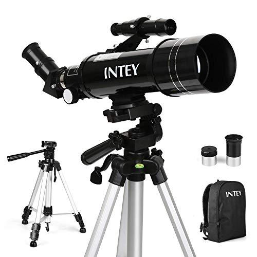 INTEY Teleskop Vergrößerung (67X, 16X), Kellner-Okular (K6mm, K25mm), 70mm Objektiv, verstellbares Stativ und Rucksack Astronomisches Teleskop für Kinder und Anfänger