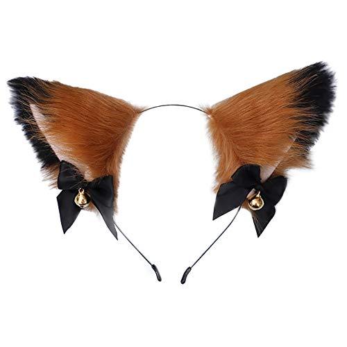 15 Arten Fuchs Ohren Stirnband Plüsch Anime Tier Stirnband Cosplay Fell Katzenohren Stirnband Party Kostüm Haarschmuck für Kinder Und Erwachsene (Dunkelbraun)