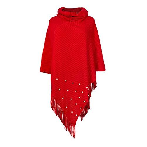 PinkLu Poncho-Schal mit Kaschmir - Hochwertiges Cape für Damen - Perlendekoration Umhängetuch und Tunika mit Ärmel - Strick-Pullover - Sweatshirt - Stola für Sommer und Winter Zwillingsherz