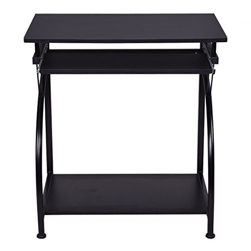 ADTEST , Gaming Table with Movable Keyboard Tray& CPU Holder, Workstation Made of P2 Environmental Material, Black