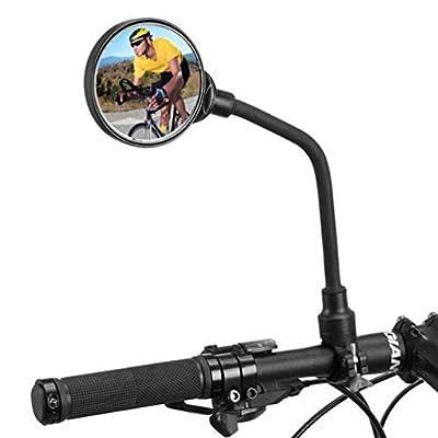 ROCKBROS Bike Mirror Handlebar Mount Safe Rear View Mirror Adjustable 360°Rotatable HD Wide Angle Cycling Biking Clear Acrylic Convex Mirror Bike Bicycle Accessories for Men Women