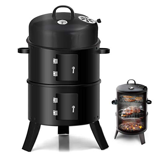 Lovinouse Upgraded Vertical Charcoal Smoker, with Heat Control, 2 Cooking Rack, Smokey Mountain Round BBQ Grill for Outdoor Picnic, Camping