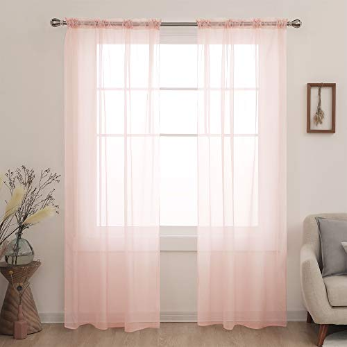 Deconovo Long Sheer Curtains for Slidding Glass Door Light Filtering Curtains for Living Room Pale Pink 52x95 Inch 2 Panels