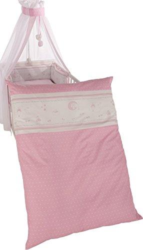 roba Kinder-Bettgarnitur 4-tlg, Babybett-Ausstattung 'Glücksengel rosa', Bettset 4-teilig: Bettwäsche 100x135 (Decke & Kissen), Nestchen, Himmel