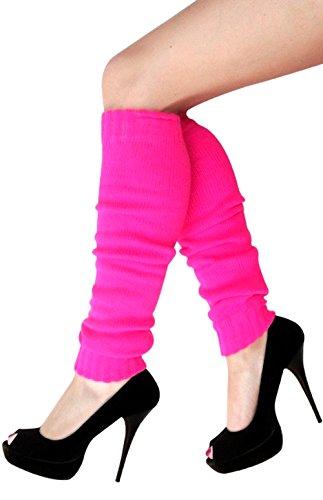 krautwear Damen Mädchen Schweißbänder Stirnband 2 Armbänder Beinstulpen Handschuhe 80er Jahre Set Neon Pink (Stulpen Pink)