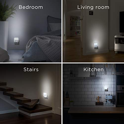 Integral LED, Plug in Walls with Dusk to Dawn Photocell, Auto Sensor Night Lighting for Hallways, Stairs, Bedrooms, Landings, Children's Room, Baby, Kids, Infants Nursery, Kitchen, Acrylic, 0.6 W