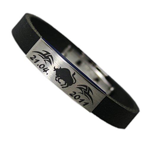 Sternzeichen Armband Leder mit Wunsch Datum und Tribal