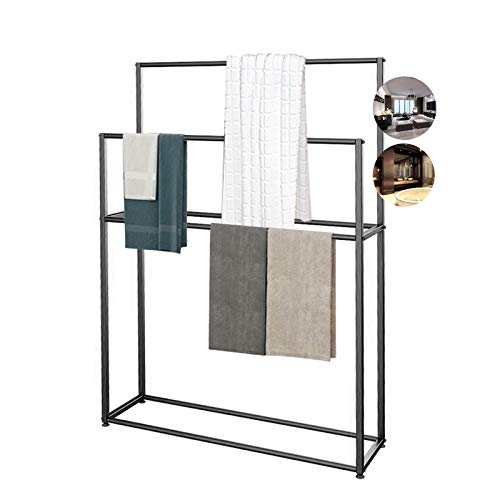 Toallero de pie sin metal, con 4 barras, soporte de toalla de 2 niveles alto, resistente al óxido, fácil de montar, 95 x 20 x 110 cm