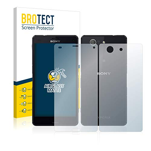 BROTECT Protector Pantalla Cristal Mate Compatible con Sony Xperia Z3 Compact D5803 (Frontal + Trasera) Protector Pantalla Anti-Reflejos Vidrio