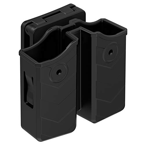 Universal Double Magazine Pouch, 9mm .40 Double Stack Mag. Holder Dual Stack Mag Holster with 1.5''-2'' Belt Clip for Glock Sig sauer S&W Beretta Browning Taurus H&K Most Pistol Mags