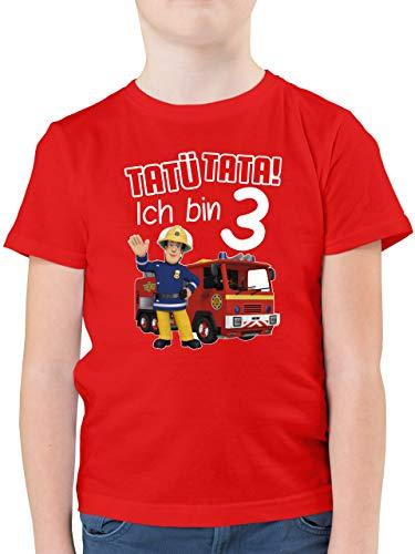 Feuerwehrmann Sam Jungen - Tatü Tata! Ich Bin 3 - rot - 104 (3/4 Jahre) - Rot - Spruch - F130K - Kinder Tshirts und T-Shirt für Jungen