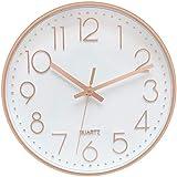 Delgeo Orologio da Parete in Oro Rosa,Decorazione da Parete, Moderno Orologio da Parete Silenzioso per Casa Ufficio Cucina (30cm, Oro Rosa)