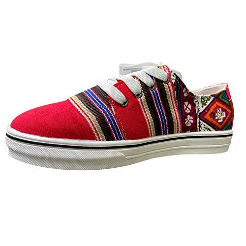 DAIFINEY Damen Segelschuhe Farbstreifen Canvas Sneaker Atmungsaktiv Freizeitschuhe Walkingschuhe Freizeitschuh(1-Rot/Red,36)