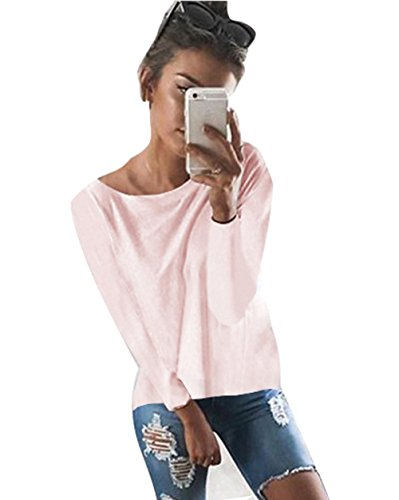 Minetom Mujeres Camiseta con Manga Larga Escotado por Detrás Camisa Blusa T-Shirt Blouses Pullover Sudadera Pink ES 38