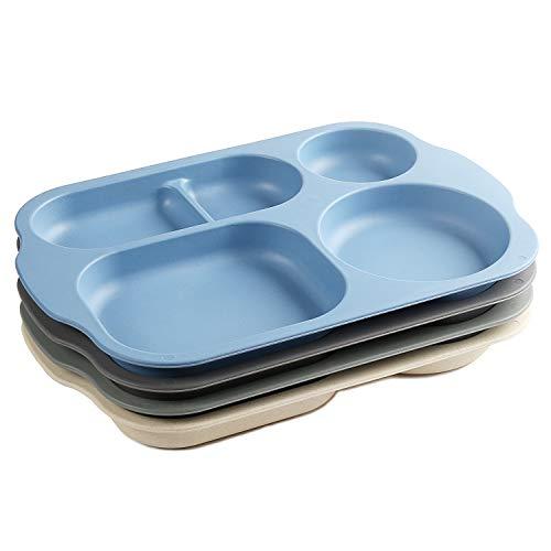 Shopwithgreen Platos de porción divididos irrompibles, grandes de 11 pulgadas, 4 unidades de bandeja apta para microondas y lavavajillas para adultos – Material de paja de trigo, ligero, salud