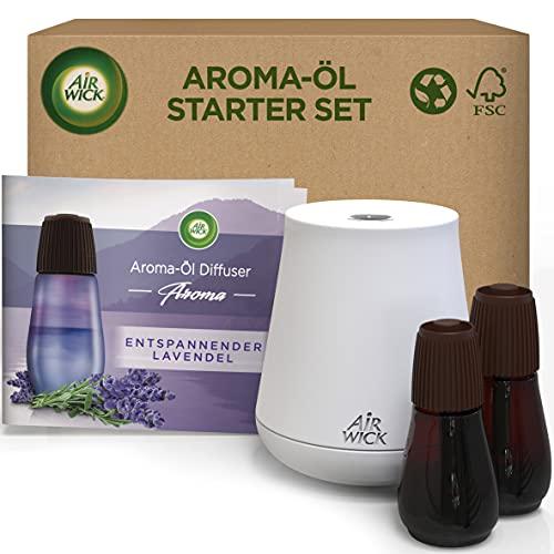 Air Wick Aroma-Öl Flakon Starter Set - Air Wick Diffuser mit 2 Nachfüllern - Blumiger Raumduft mit ätherischen Ölen - Duft: Entspannender Lavendel - 2 x 20 ml Öl + Gerät in Weiß