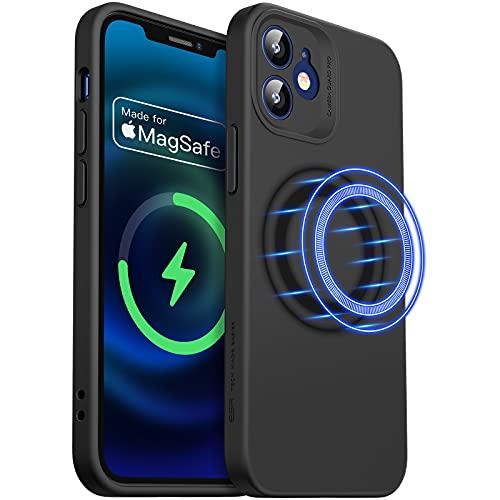 ESR Cloud Weiche Hülle mit MagSafe Kompatibel mit iPhone 12 2020 6,1 Zoll Silikon Hülle mit Pro Kameraschutz, Schwarz
