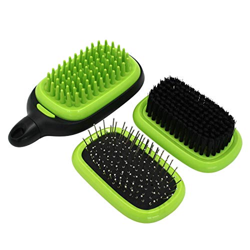 Pin and Bristle Brush for Dogs Cats Grooming Comb,HONOMA Pet Bath Massage Soft Rubber Bristles Brush Shampooing and Massaging,3 IN 1 Cleans Shedding and Dirt for Short Medium or Long Hair