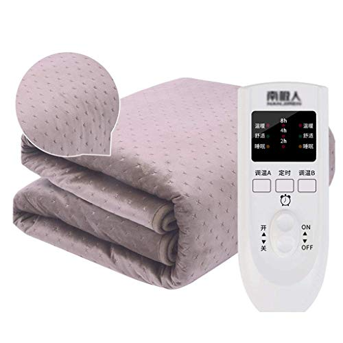 GXYtable cloth Electric Blankets, with Auto Safety Shut Off Heated Mattress Cover with Timer 3 Heat Settings Built In Advanced Overheat Protection System Electric Overblanket,Purple,160x130cm