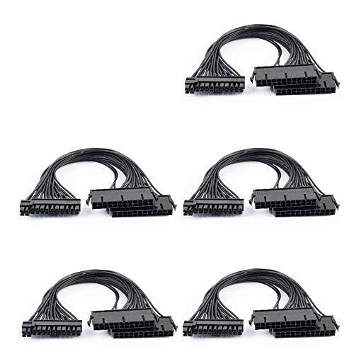 Fauge 5-Pack 24Pin Dual PSU ATX Sync Cable Adaptador de Fuente de AlimentacióN para MineríA Ether 30Cm