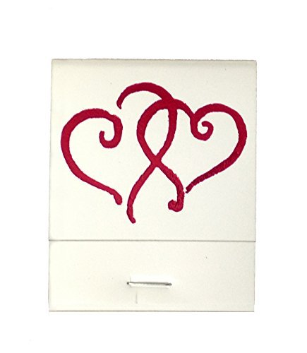 50 White Matches Printed Hearts in Metallic Red Matchbooks Wedding, Anniversary, Birthday, Party, Your Choice of Color of Print by Party Favors Plus