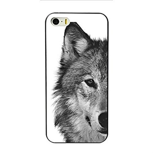 SecondDromi Wildes Schwarzweiss-Wolfkopfmuster hülle für iPhone 5S,für iPhone SE,Weiß