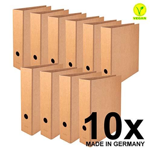 Original Falken 10er Pack Vegan-Ordner Pure Nature. Hergestellt in Deutschland. 8 cm breit DIN A4 Braun Aktenordner Briefordner Büroordner Pappordner Schlitzordner