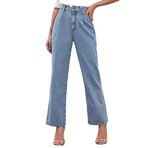 goodjinHH Damen High Waist Straight Jeans Baggy Lang Jeanshose Loose Casual Denim Hose (Blau, XL)