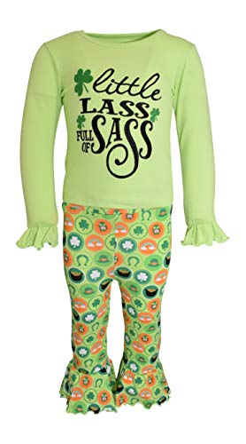 Unique Baby Girls St. Patrick's Day Little Lass Bell Bottom Pants Outfit (5) Green
