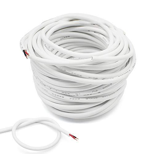 10 Meter Weißes Zweileiterkabel, 2-adriges Rundes PVC Flexible Kabel, Kupferkern Elektrischer Draht, Schneidbar, Verschleißfest, zum Einbau von Haushaltsgeräten mit Geringem Stromverbrauch
