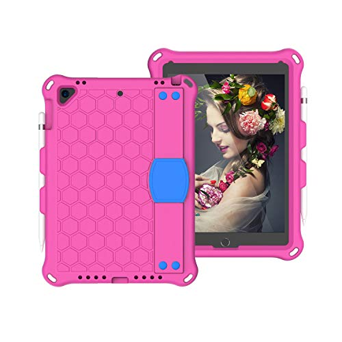 JIANWU Cover, For iPad Pro 9.7 case,for New iPad 2018/2017 case,for iPad Air1 Air2 case Shockproof Tablet EVA Cover with Shoulder Strap and Hand Strap,for kids (Color : RoseRed+Blue)