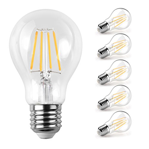 Ascher E27 LED Classic Lampe/Ersetzt 60W, 800lm / Warmweiß 2700K / Filamentstil Klar/Nicht Dimmbar / 5er-Pack