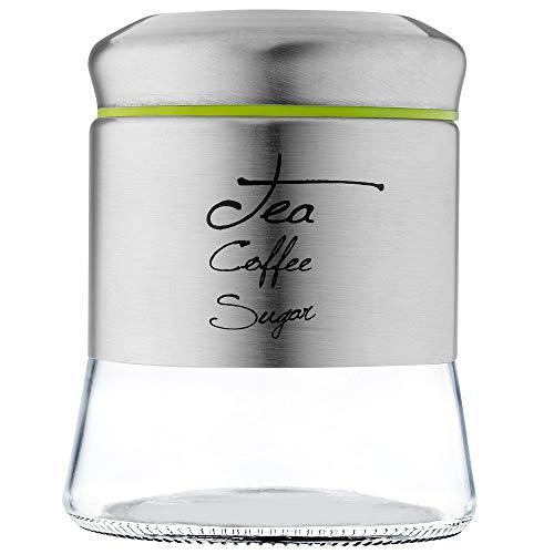 KADAX Vorratsglas mit Schraubverschluss, Kaffeedose aus Glas, Glasbehälter mit Deckel, Vorratsdose für Küche, Tee, Kaffee, Zucker, Kakao, Gewürze, Teedose, rund (750 ml)
