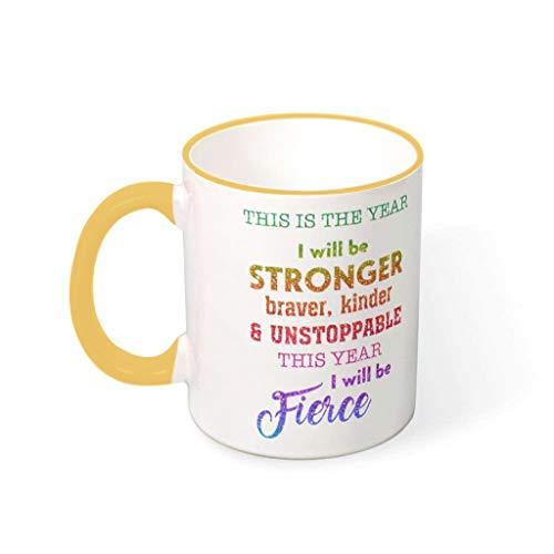 BBOOUAG Esta es el año I Will Be Stronger Taza de café linda pintura vajilla lavavajillas cerámica regalo para amigos con capacidad de 330 ml