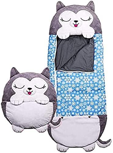 2-in-1-Cartoon-Kinderschlafsack, super weicher und warmer Schlafsack, eine Überraschung für Kinder (Husky Hund,Groß)