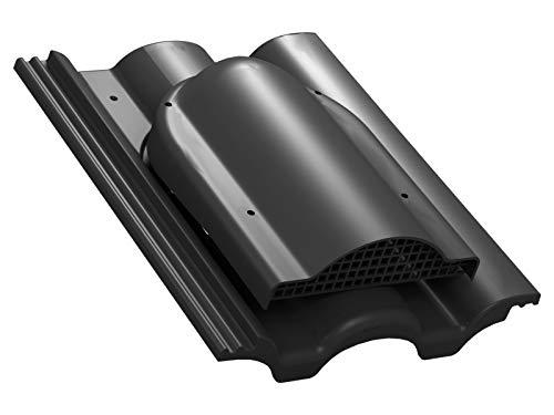 Flachlüfter für Braas - Taunus Dachlüfter Entlüfter Lüftungsziegel (RAL 9005 - Schwarz)