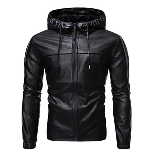 Find Discount Men Winter Leather Jacket with Hooded Slim Fit Solid Outdoor Thicken Drawstring Hoodie...