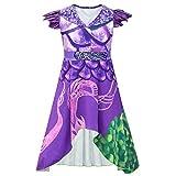 Marosoniy Princess Girls Purple Dresses Dragon Mal Fancy Costume Popular Musical Cosplay Halloween Party Costume Adult Kids (Purple, (130(6-8Y)))
