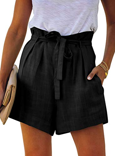 Paitluc High Waisted Shorts for Women Casual Solid Belt Fitted Summer Beach Lounge Shorts Black M