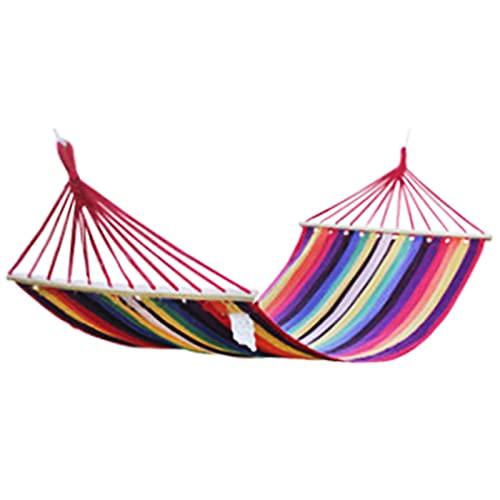 Hammock, With Folding Wooden Spreader Bars Canvas Cotton Portable Durable For Backpacking Camping Backyard Garden