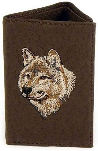 Smiling Wolf Trifold Brown Leather Wallet