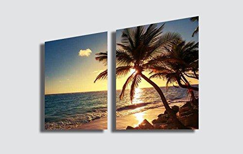 Quadro Moderno PANORAMA Tramonto in Spiaggia Mare Caraibi - Stampa su Tela Canvas in HD Quadri Moderni Fornito già intelaiato e pronto da appendere printerland.it