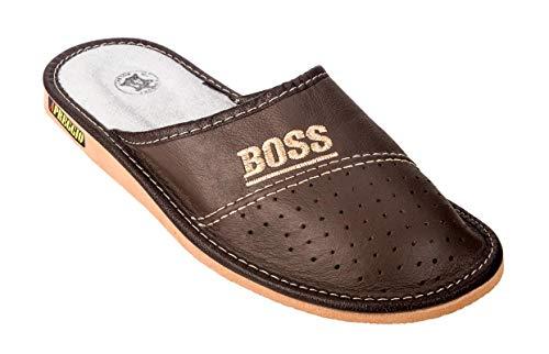 Apreggio Zapatillas De Cuero para Hombre Leich Natural 100% Cuero Producto Hecho a Mano Sólida Cómodo (Marrón, 41)