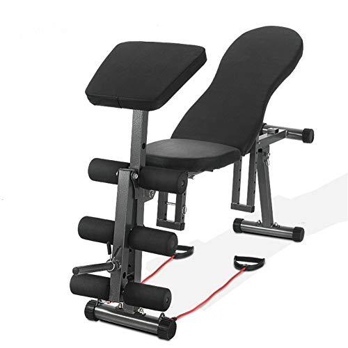 Verstelbaar 5 In 1 Gewicht Bank - Multi-Purpose Opvouwbare Incline/Decline Benches, Zitten Ab Training Apparatuur met Weerstand Touw - Ideaal voor Thuis, Gym