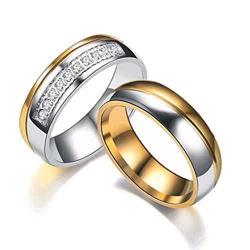 Beydodo Anillos Pareja Acero Inoxidable Compromiso Anillos de Compromiso Set Redondo Circonita Blanca Plata Oro Talla Mujer 17 y Hombre 22