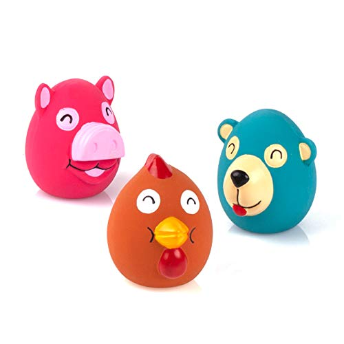 Chiwava 3 Pack 2.6 Inch Squeak Latex Dog Toy Animals Cute Face Interactive Play for Small Dogs Assorted Color