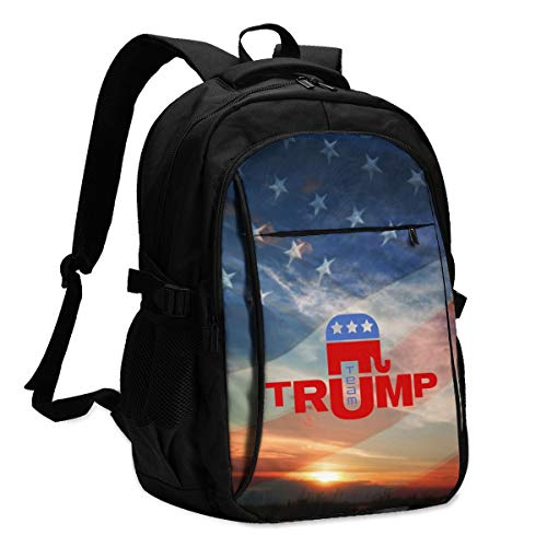 High Capacity Travel Laptop Water Resistant Anti-Theft Backpacks with USB Charging Port and Lock for Men Women College School Student Casual Hiking W/Print Trump Republican Party Pattern